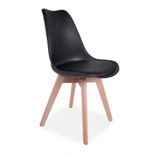 4x Tulip Pyramid Dining Chairs With Beech Legs, Black